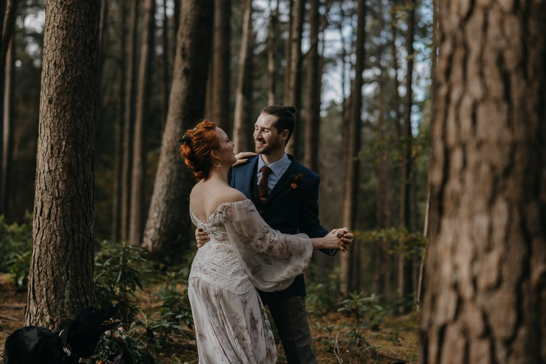 Glencoe elopement forest couple first dance