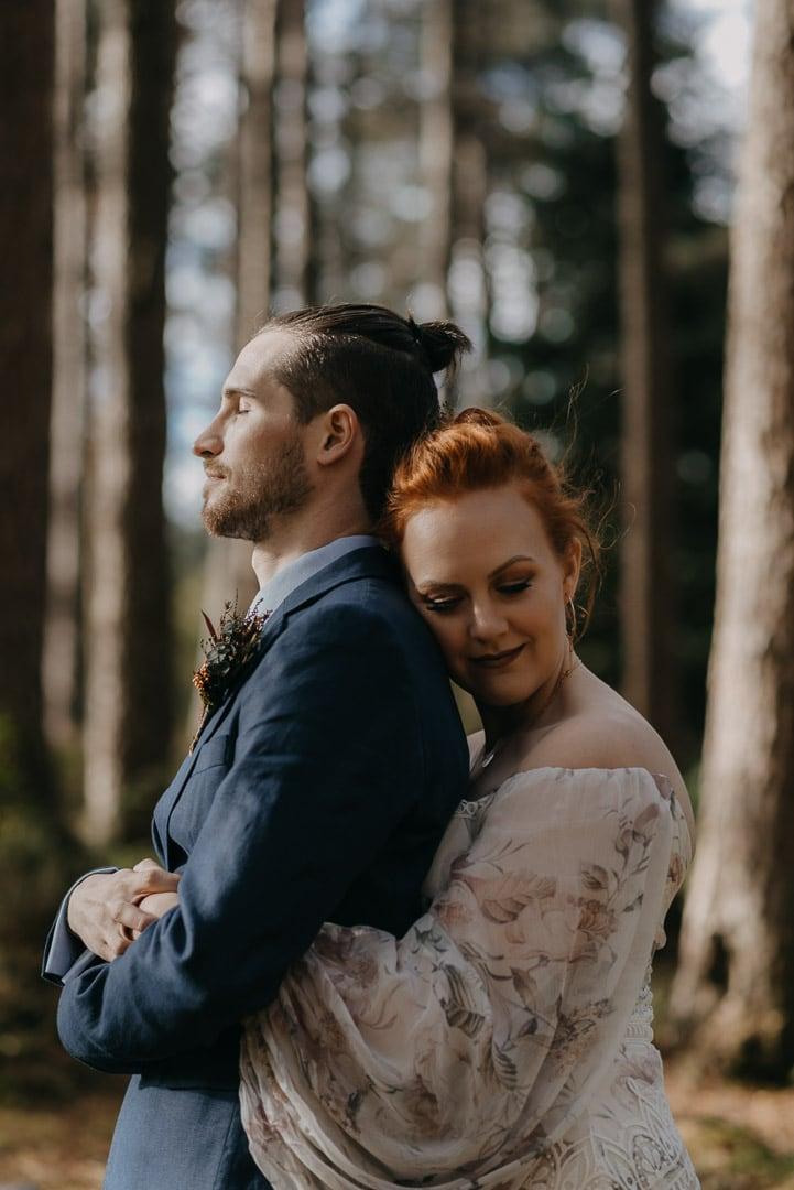 Glencoe elopement forest couple