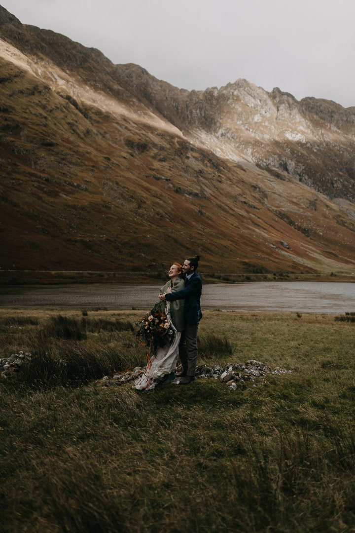 Eloping couple in windy Glencoe