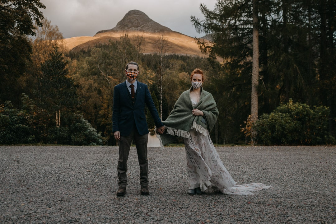 mask wearing pandemic wedding elopement couple