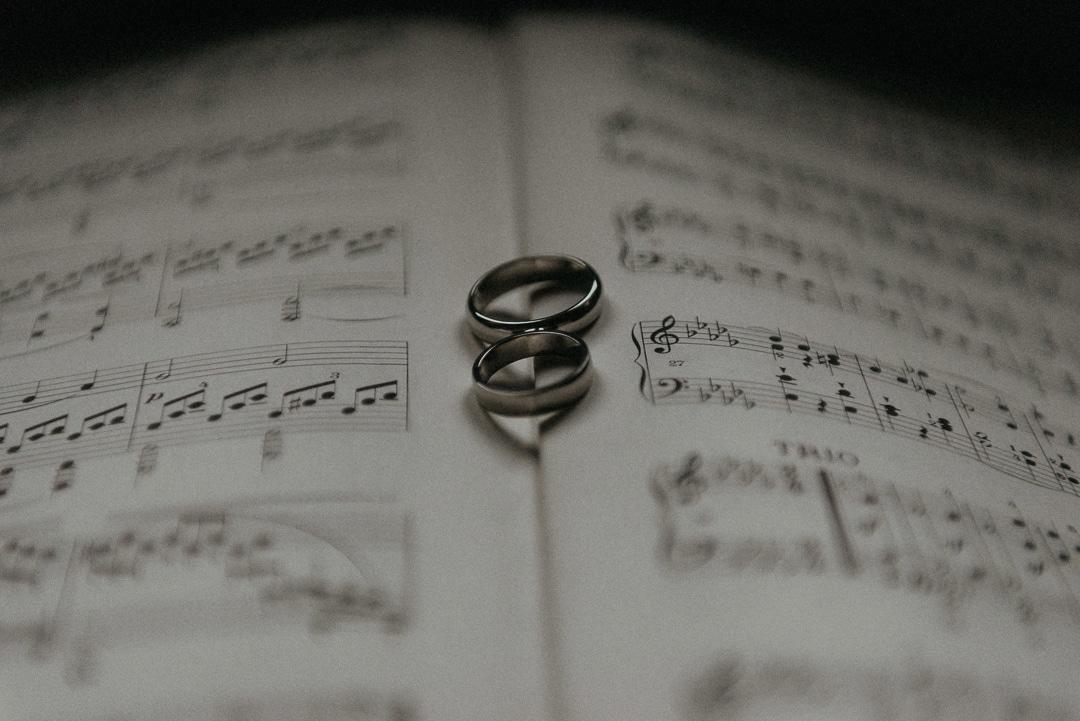 wedding rings on sheet music