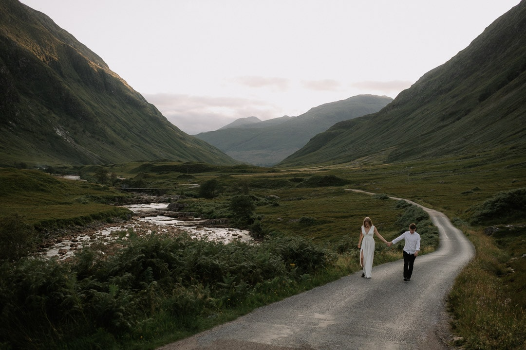 glen etive skyfall elopement couple