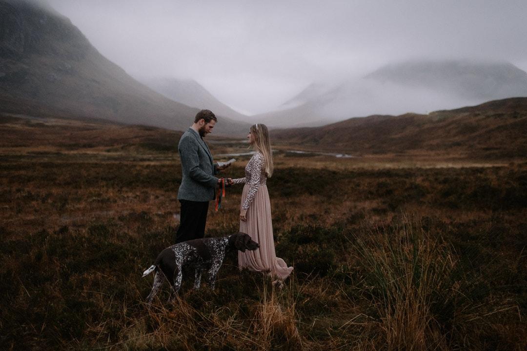Romantic glencoe elopement ceremony