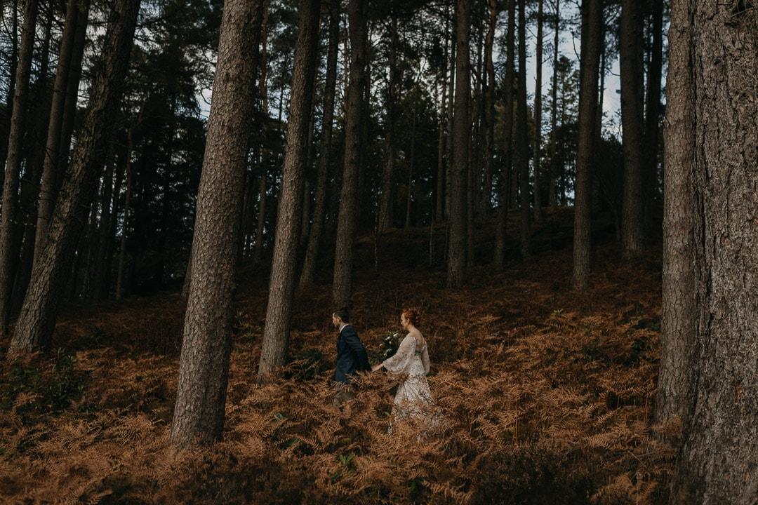 romantic forest elopement in glencoe